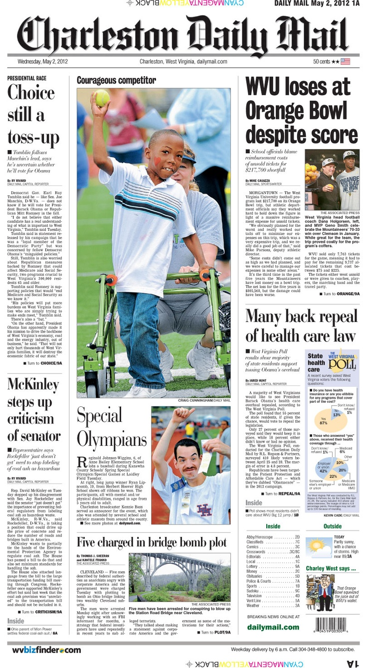 Wednesday in the Daily Mail, a centerpiece from Laidley Field as Special Olympians from Kanawha County converge for some friendly competition (more photos at http://www.dailymail.com/foodandliving/201205010252). Also, while the final score read 70-33 in the Orange, the WVU football program's bottom line was more than $200,000 in the red.