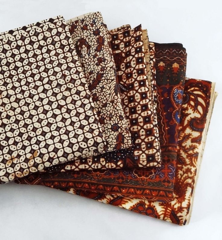 5 Vintage Indonesian Batik Kain Panjang / Rectangular Wax Dyed Cotton Textiles - 20th Century, Indonesia from Amulet Art and Antiques on Ruby Lane