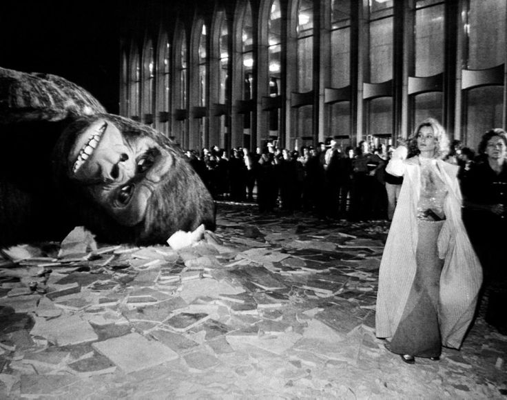 """Lights, camera, action! Actress Jessica Lange is pictured on the set of the 1976 remake of """"King Kong,"""" which was filmed at the World Trade Center."""