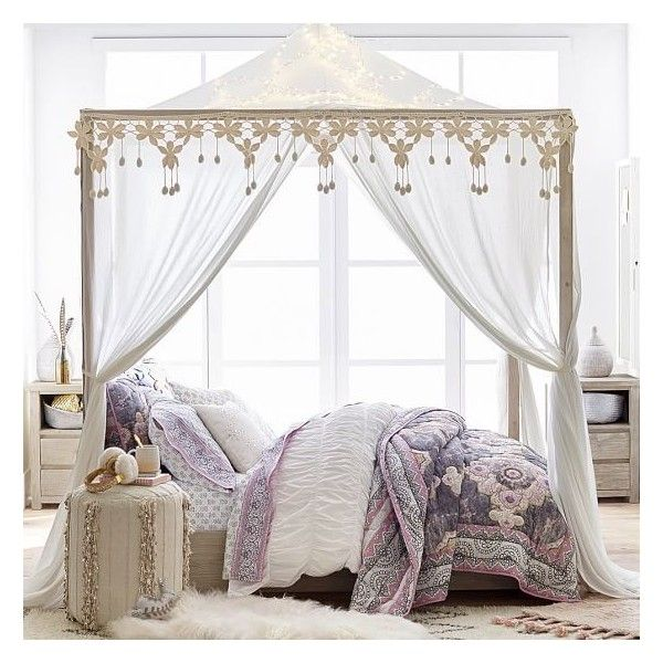 PB Teen Costa Canopy Bed, Queen, Weathered White ($910) ❤ liked on Polyvore featuring home, furniture, beds, white queen canopy bed, handmade beds, pbteen, distressed bed and white canopy bed frame