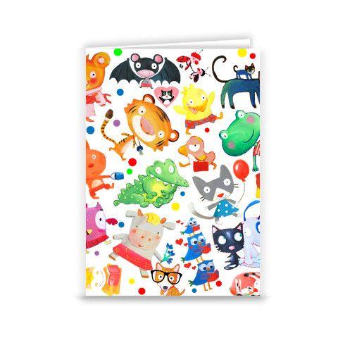 animals kids pattern Greeting Card by luciasalemi at zippi.co.uk