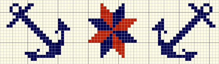 cross stitch border: anchors & compass star