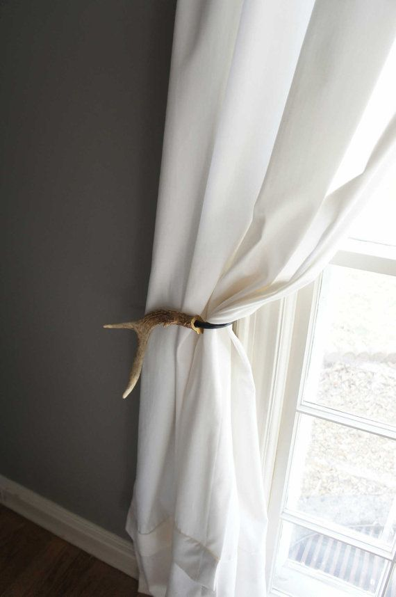 One Antler Curtain Tie Back Holdback Cabin by UpscaleDownhome