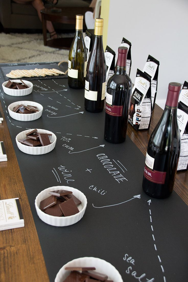 Chalkboard Take On A Wine Lindt Chocolate Pairing Party From Siftandwhisk Winebirthday Parties65th