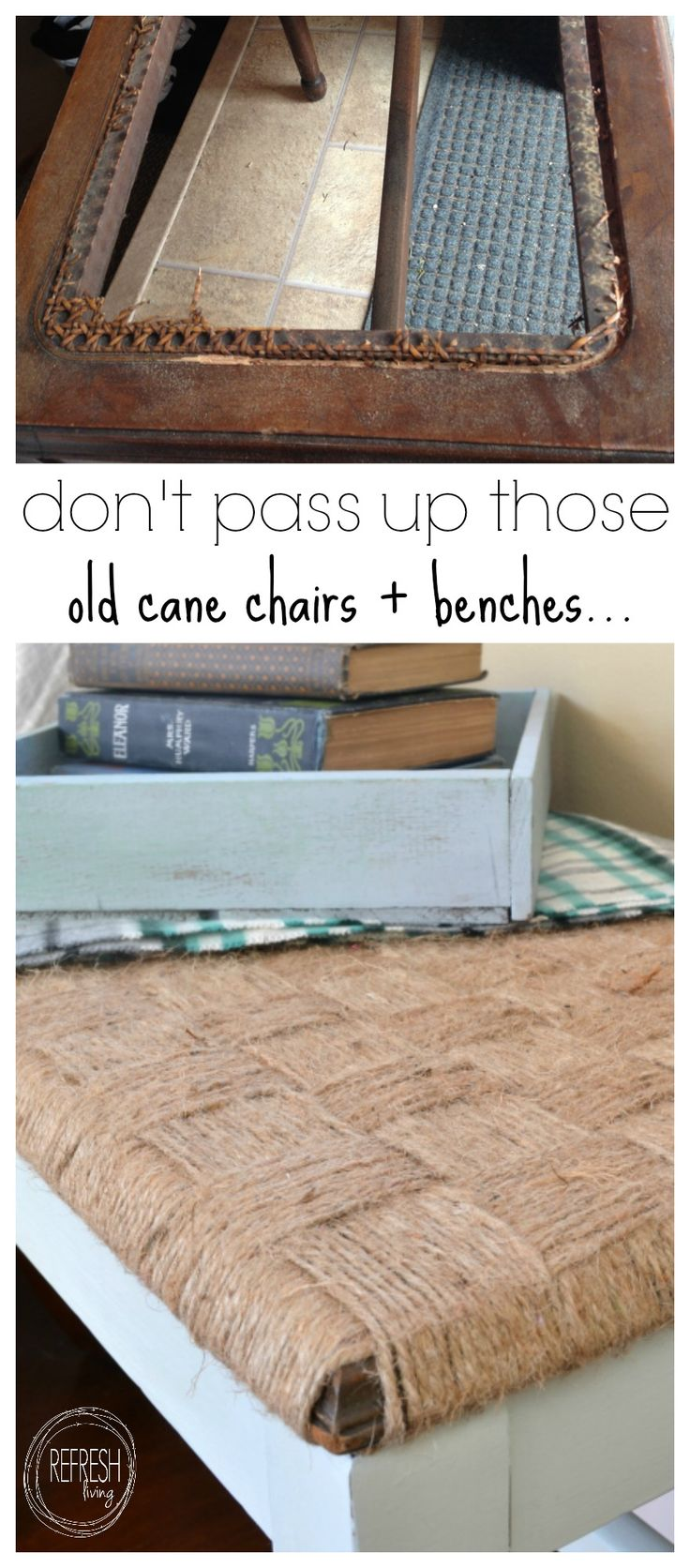 rustic DIY woven bench | take a chair or bench without a seat and make a woven top | how to weave twine into a seat