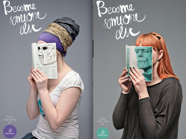 "Campaign for Mint Vinetu, a bookstore in Vilnius. Created by ad agency Love Agency. Featured on Buzzfeed's ""10 Brilliant Book Ads""."