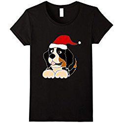 Women's Smiletodaytees Bernese Mountain Dog Christmas T-shirt XL Black
