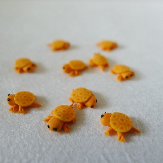 3D Kawaii Orange Tortoise Cabochons 10 pcs by candycanebar on Etsy, $3.99