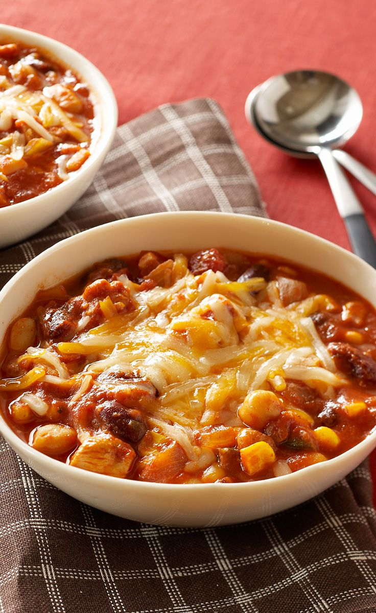Slow-Cooker Chunky Chicken Chili — This chicken thigh chili fits into your smart eating plan, is slow-cooker convenient and tastes amazing. Simply put, it's a winner on every count.