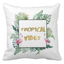 Tropical vibes outdoor pillow