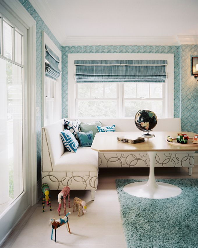 Lonny Magazine   Dining Rooms   Blue Wallpaper, L Shaped Banquette, White  Leather Banquette, French Brass Nailhead Trim, Clipped Corners Din. Part 58