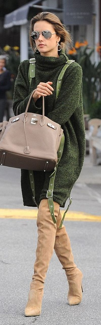 Who made Alessandra Ambrosio's suede thigh boots, brown handbag, silver aviator sunglasses, and green sweater dress?