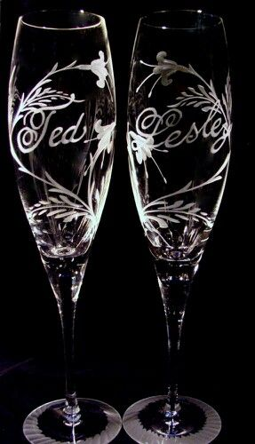 Hand Engraved Crystal using Stone Wheels by Catherine Miller of Catherine Miller Designs. Stems created by Orrefors, Wedding Glasses