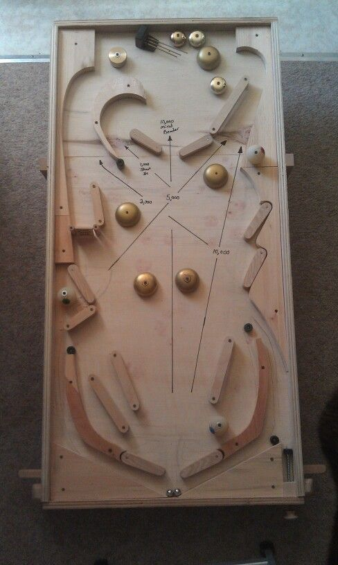 "My version of a wooden pinball machine. ""The Mind Bender"" prototype: 1400 hours of play and refinement. 7 flippers on 2 traditional side operating plungers. The upper 2 flippers in the Mind Bending chamber work off opposing plungers making the player think in reverse. Regulation size playing field. Still working on design and build of a scoring / return to play level."