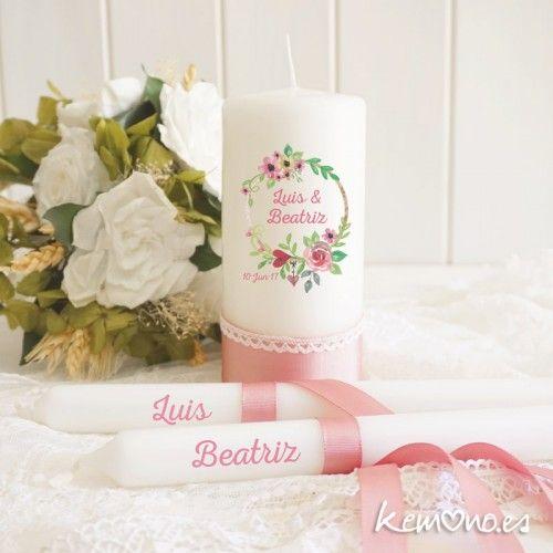 Velas de Unión. Rosa floral