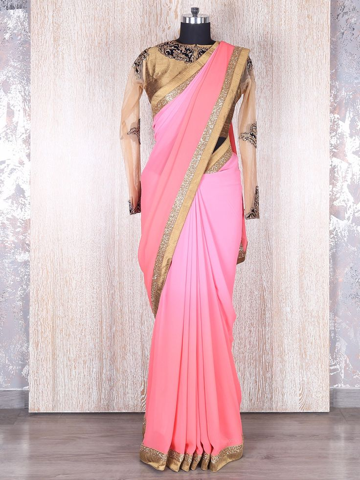 Pink Georgette Alluring Party Wear Saree