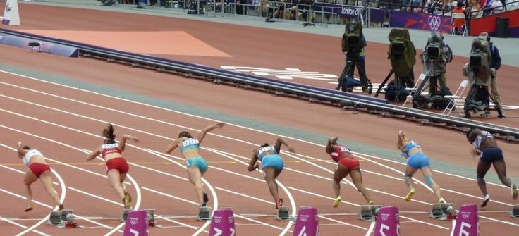 Olympic Stadium, Friday 3 August, London Olympic Games, Marta Jeschke, Diane Borg, Olga Bludova, Sheniqua Ferguson, Carmelita Jeter, Olga Belkina, Anyika Onuora