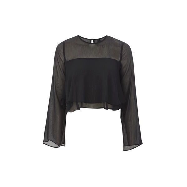 Frill Yoke Blouse by Nobody's Child ($22) ❤ liked on Polyvore featuring tops, blouses, black, ruffle sleeve top, frilly blouse, layered tops, going out tops and layered blouse