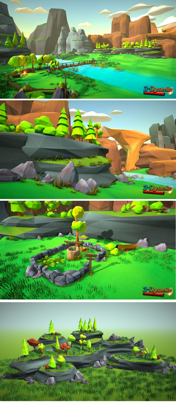 Low Poly Environment Pack for all of you that want to make low poly style environments easily. All models are coloured by vertex color techniques, so no textures and only a few materials are needed. Different environments: Dessert, forest, winter, autumn.