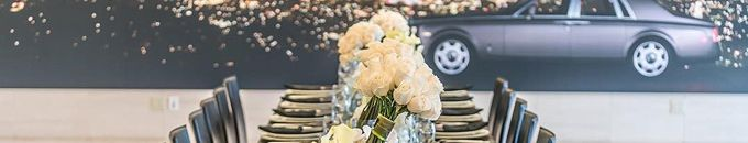 Dinnerware Rental for Rolls-Royce of Beverly Hills Event - more automotive events http://www.redcarpetsystems.com/tag/automotive-industry-event/