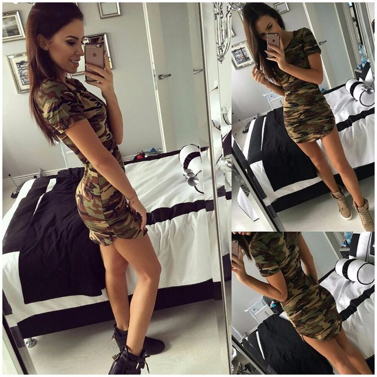 2017 new fashion women summer dress short sleeve sexy mini dresses women green camouflage print plus size woman vestidos