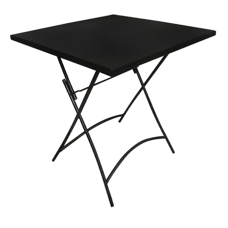 Park garden table square steel black folding
