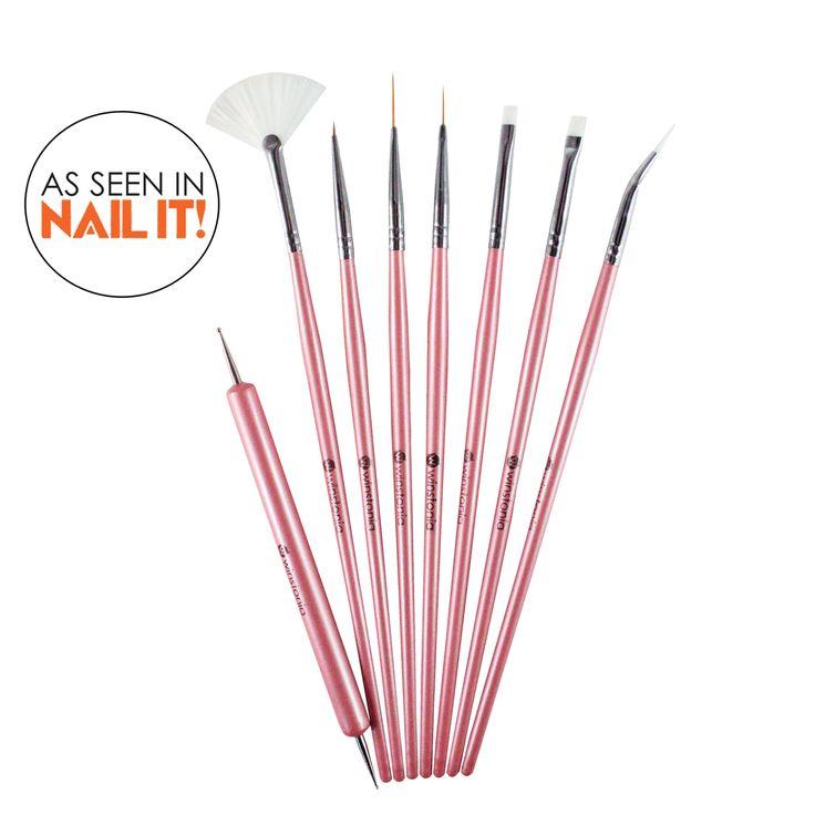 Winstonia  'Glam Gadgets' Professional Nail-Art Brushes Tools Kit Set (8 pcs)