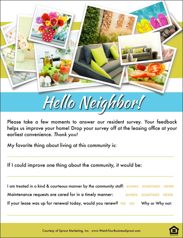 "See how your community is stacking up with the ""Hello Neighbor"" resident survey. For more awesome multifamily housing freebies check out www.WatchYourBusinessSprout.com.  Resident Retention Toolbox 