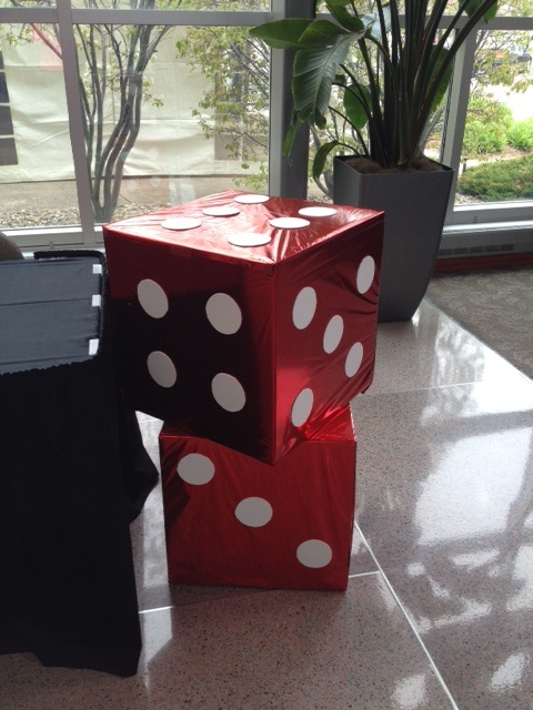 Large dice decor for a casino themed event at The Marten House Hotel & Lilly Conference Center - Indianapolis, IN