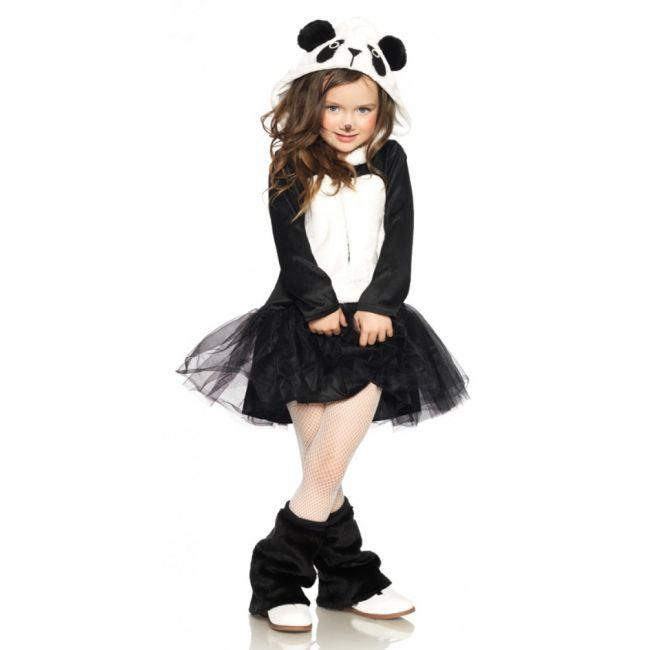 Pandabeer kostuum voor kinderen. Petticoat jurkje met ritssluiting en aangehechte pluche panda capuchon. Dit panda jurkje voor meisjes is gemaakt van 100% polyester. Luxe kwaliteit. Carnavalskleding 2015 #carnaval