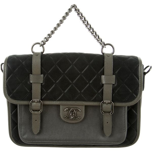 Pre-owned Chanel Paris-Bombay Back To School Messenger Bag (£2,930) ❤ liked on Polyvore featuring bags, messenger bags, grey, grey leather messenger bag, genuine leather bags, courier bags, genuine leather messenger bag and chanel