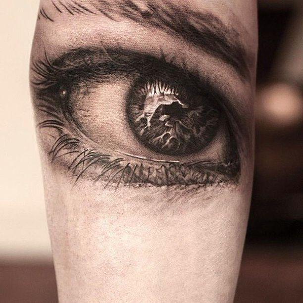 Macro Moist Eye realistic tattoo