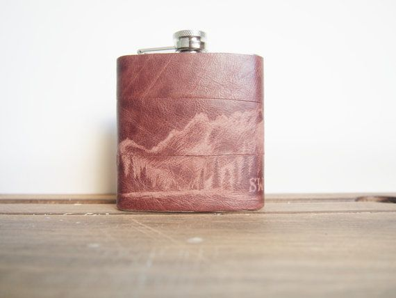 The Ranger Flask - Personalized initials, Red Wood Tree -  brown leather, wedding hip flasks