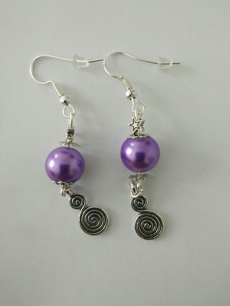 Boucles d'oreille perle violette + étoile + spirale #diy #french #earring