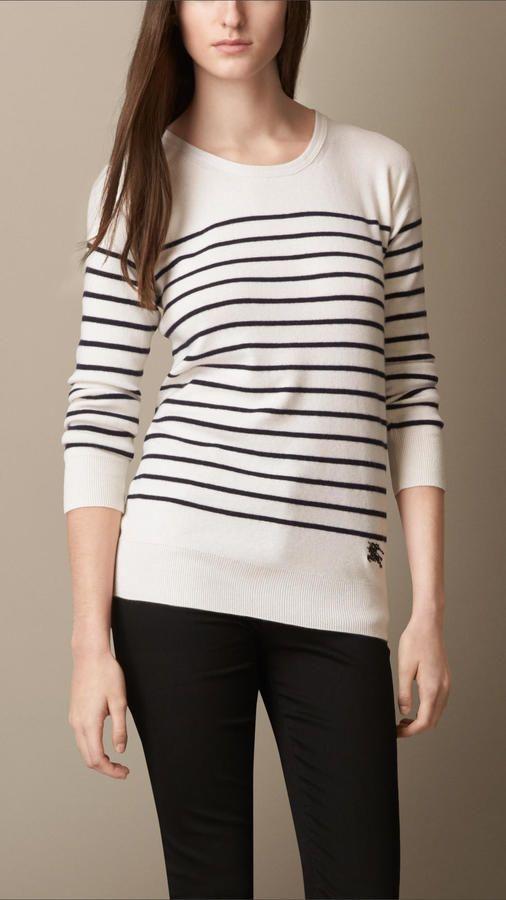 Burberry Breton Stripe Cashmere Blend Sweater on shopstyle.com