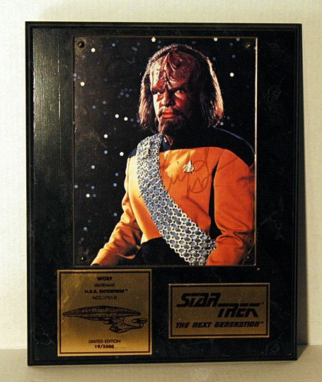 Limited Edition Star Trek Michael Dorn Autograph Hand Signed NG Worf Photo Plaque LOW SN