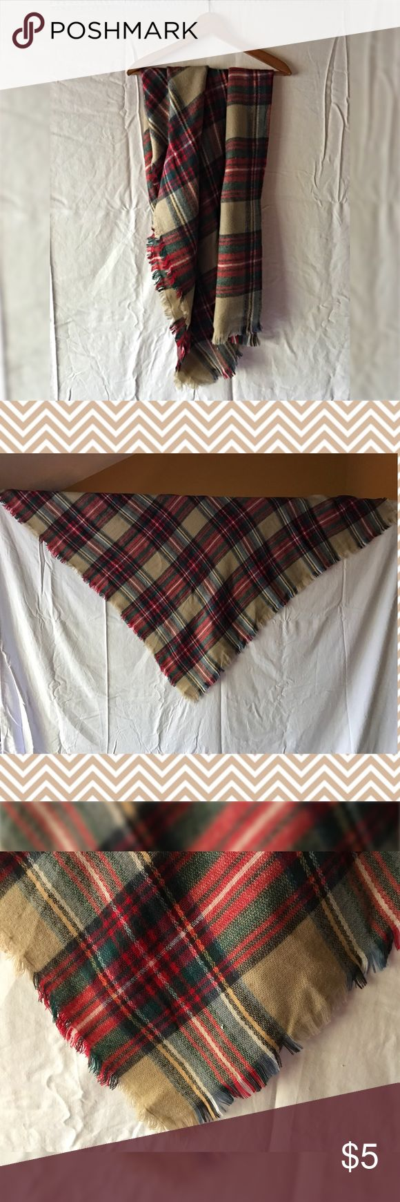 Large red plaid blanket scarf Lovely warm red and cream plaid blanket scarf. Huge! Synthetic fiber blend. Never worn! Accessories Scarves & Wraps