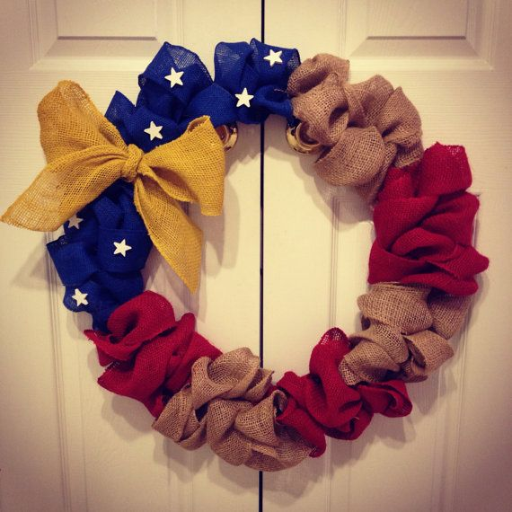 deployment - military - burlap wreath