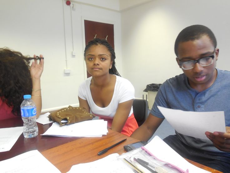 Young producers team working hard to learn how to write a press release.