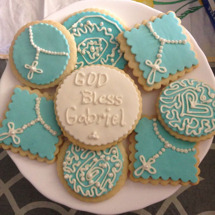 First communion sugar cookies with fondant and royal icing