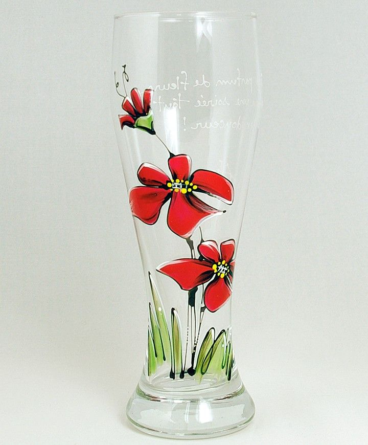 Verre à bière (510 ml) : : Fleurs rouges  *** Produit peint à la main.