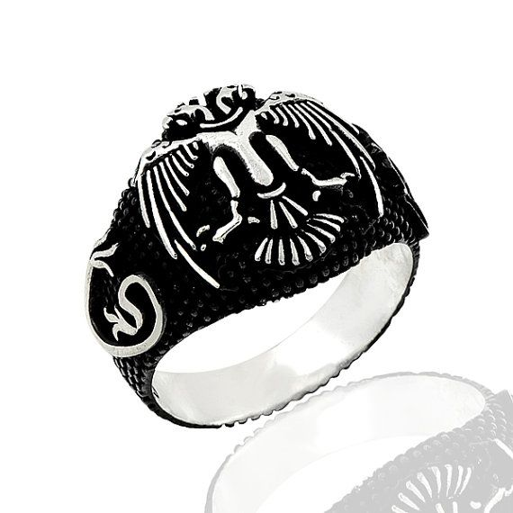 925 Sterling Silver Ring for Men with Double Headed Eagle