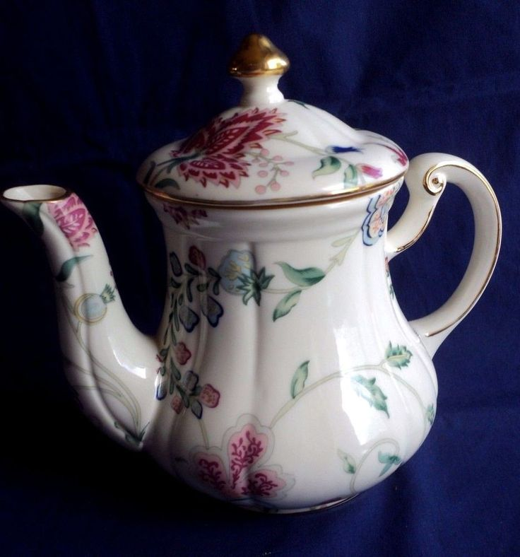 Skye McGhie Fine Porcelain Chatsworth Teapot Florals Gold Trim    eBay