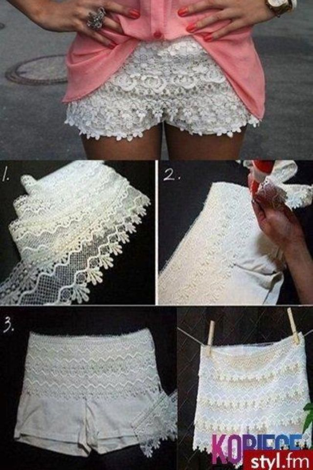 Cute DIY lace shorts -- maybe with bottoms on the front for design