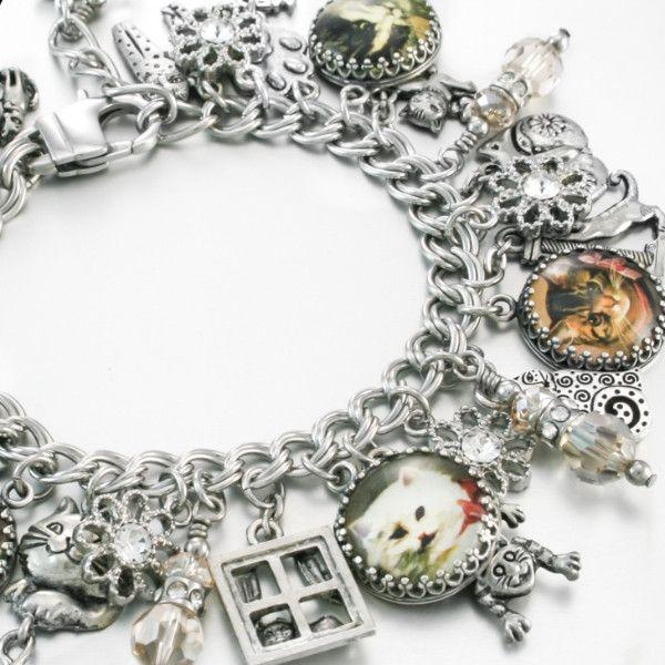 Silver Charm Bracelet, Birthstone Charm Bracelet, Cat Charm Bracelet, Cats Jewelry, Kitten Charm Bracelet, Stainless Steel Charm Bracelet - Blackberry Designs Jewelry #shopifypicks