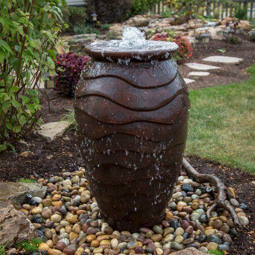 Scalloped Urn Resin Fountain Solar Fountain Fountains Outdoor Water Fountains Outdoor