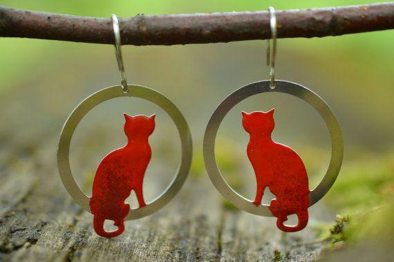 Sitting Cat Earrings Pet Earrings Kitten Earrings  by CinkyLinky