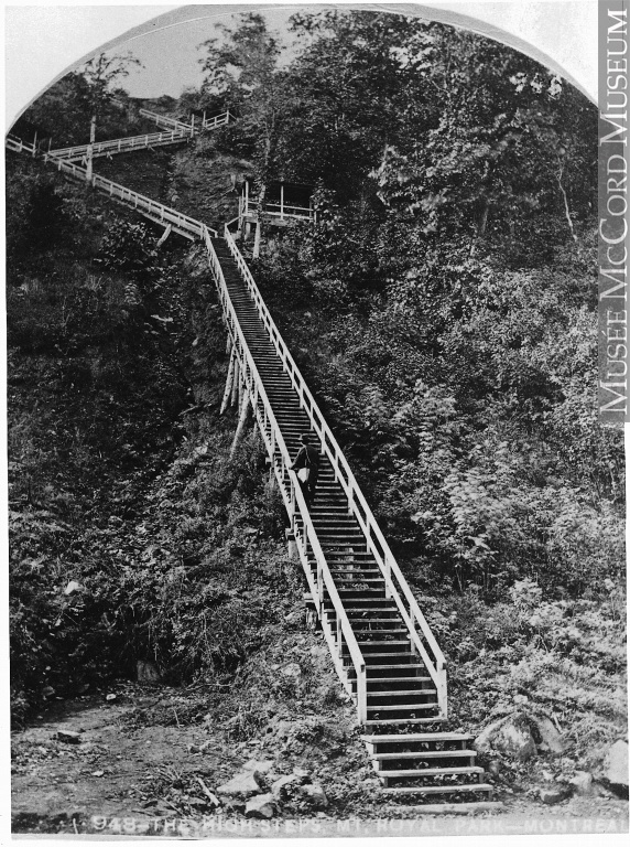 Le grand escalier, parc du Mont-Royal, Montréal, QC, vers 1878, Notman & Sandham, Vers 1878, 19e siècle // The High Steps, Mount Royal Park, Montreal, QC, about 1878, Notman & Sandham, about 1878, 19th century