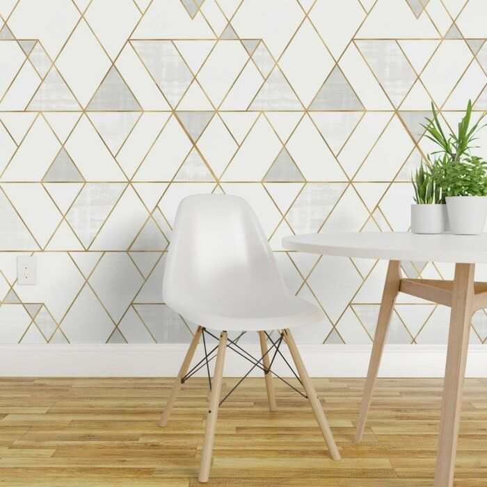 Ivy Bronx Clarkson Geometric Removable Peel And Stick Wallpaper Panel Reviews Wayfa Geometric Removable Wallpaper Wallpaper Accent Wall Removable Wallpaper