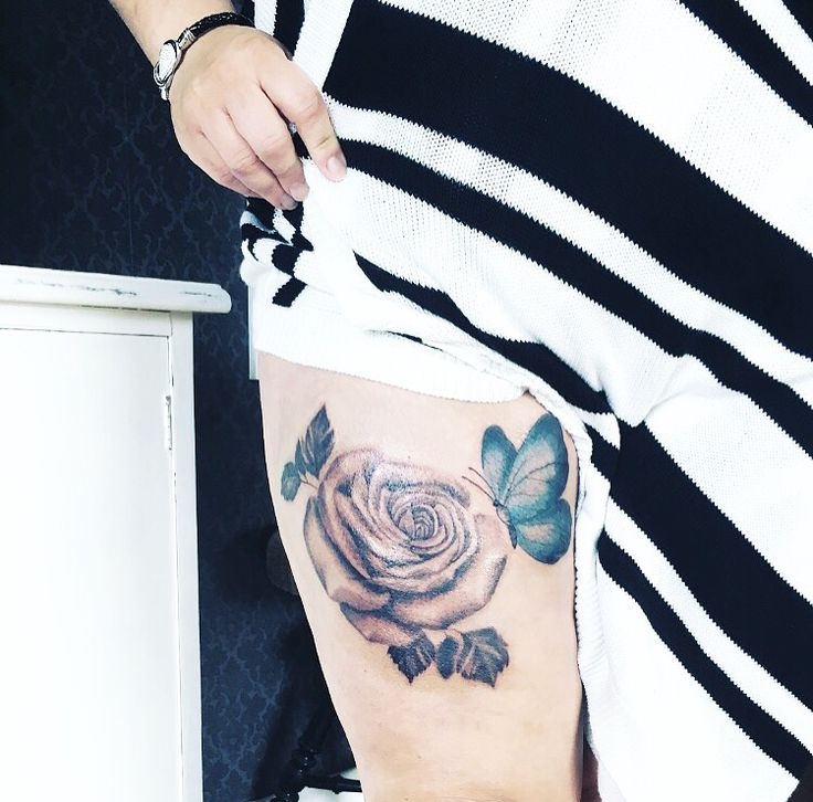 Tatuering, ros, rosetattoo, fjäril, butterfly, lår,